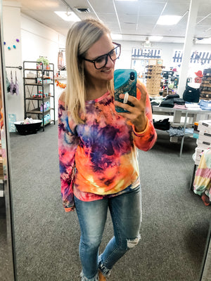 Bright Tie Dye Buttery Soft Long Sleeve Top