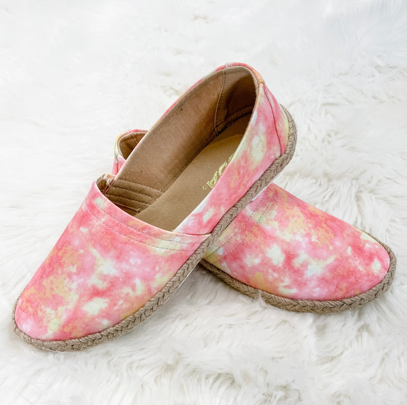 Betty- Pink/Yellow Tie Dye Slip On Shoes