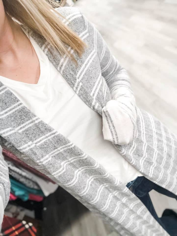 Grey/White Stripe Duster