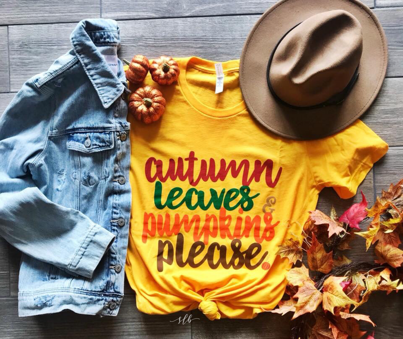 Autumn, Leaves, Pumpkins Please Graphic Tee