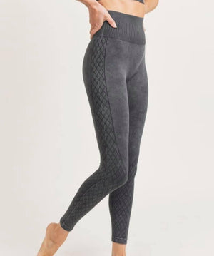 Black Acid Wash Print Athletic Leggings
