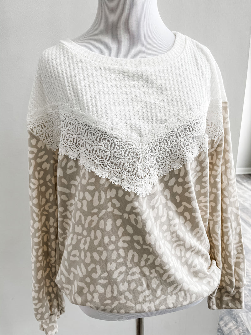Taupe Leopard Lace Long Sleeve Top