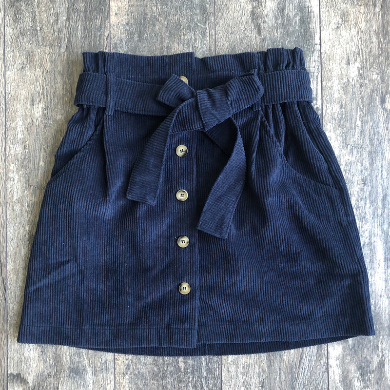 Corduroy Skirt- Navy