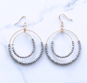 Double Layered Crystal Hoop Earring
