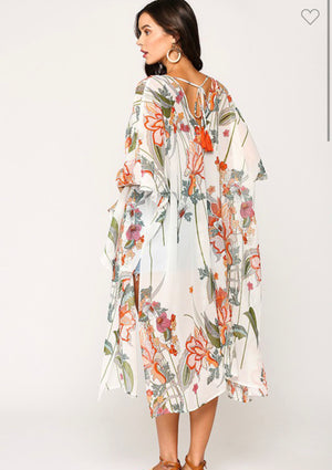 Off White Tropical Ruffled Long Kimono