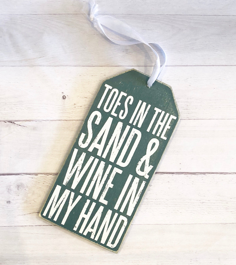 Wine Bottle Tags -Toes in the sand & wind in my hand