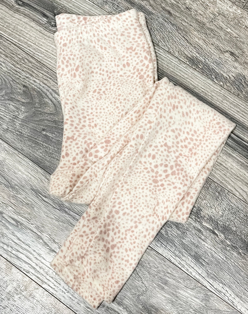 Pink Spotty Check Print Fleece Leggings