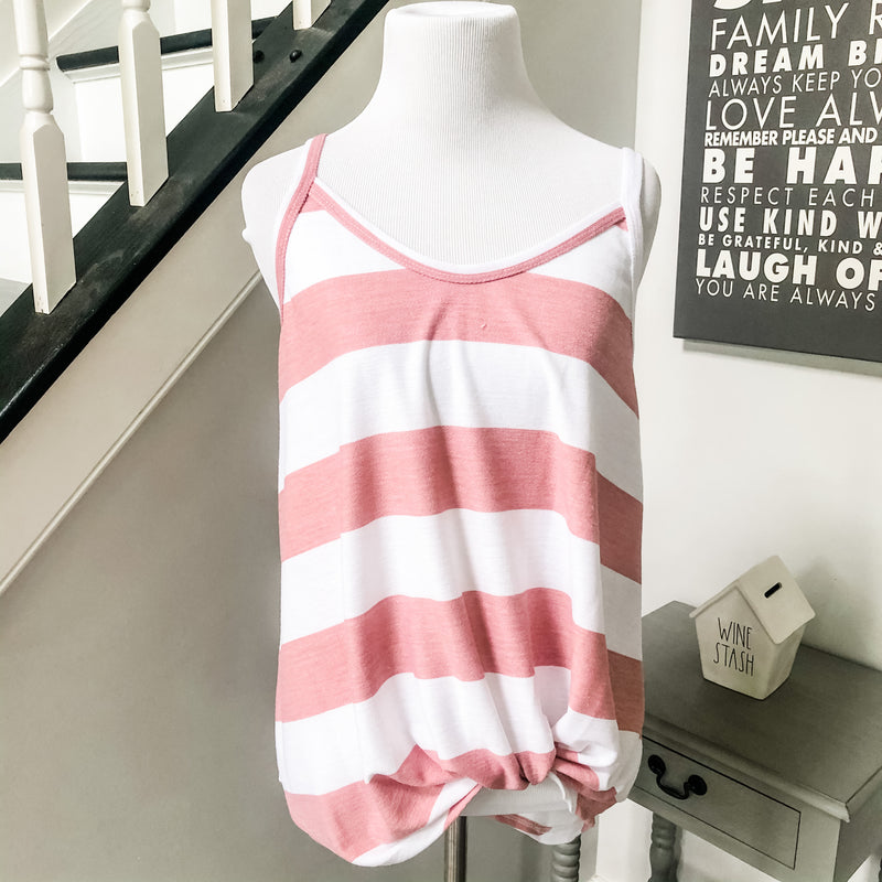 Pink and White Stripe Knotted Twist Tank