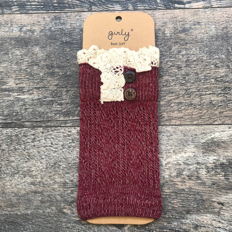 Heathered Burgundy Crochet Lace Boot Cuff