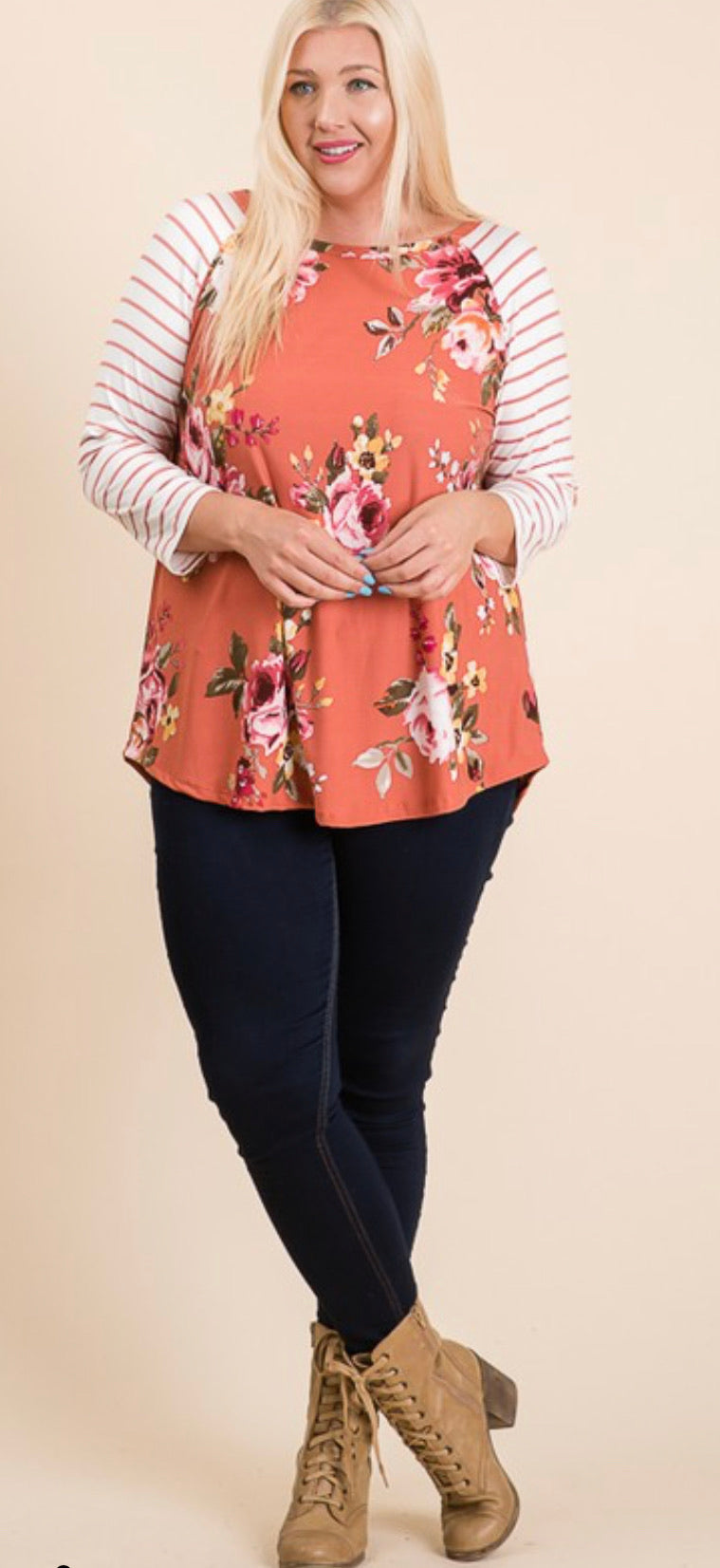 Cecilia Floral Striped Raglan