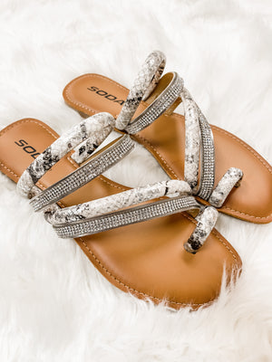 Down White Python Sandals
