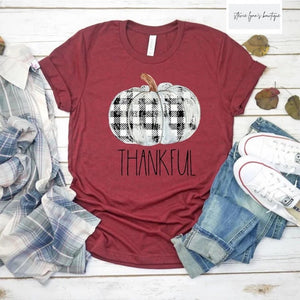 Buffalo Plaid Pumpkin Graphic Tee-2 Colors