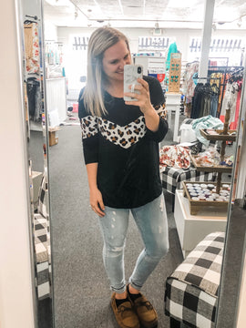 Leo- black and leopard top