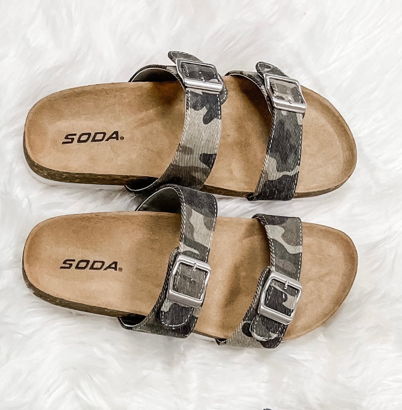 Dunya Camo Double Strap Sandals
