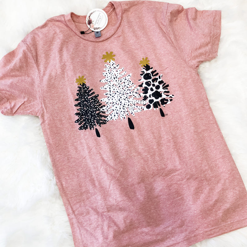 Dusty Pink Xmas Tree  Graphic Tee