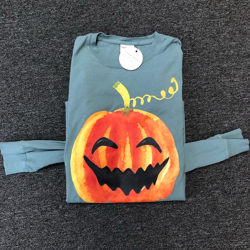 Watercolor Jack-O-Lantern Long Sleeve Top