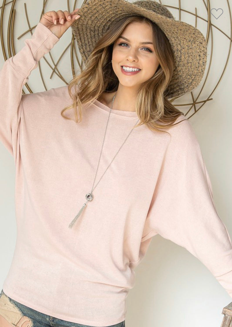 Light Rose Dolman Sleeve Top