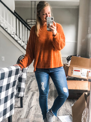 Fuzzy Orange Sweater