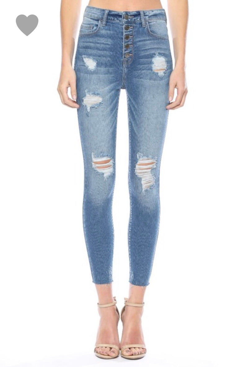 5 Button Distressed Skinny Jeans