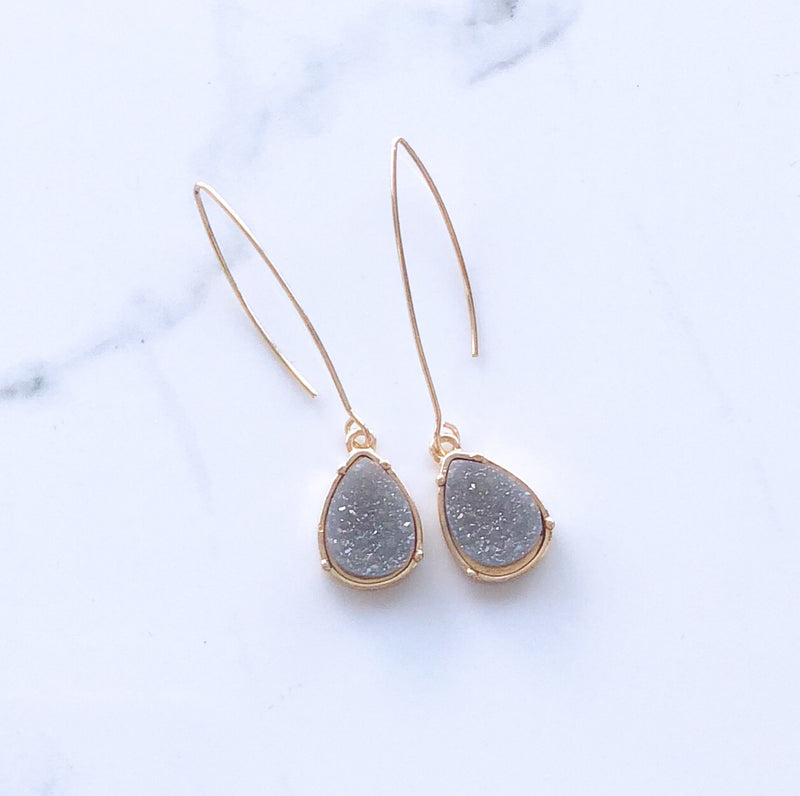 Beige Teardrop Earrings