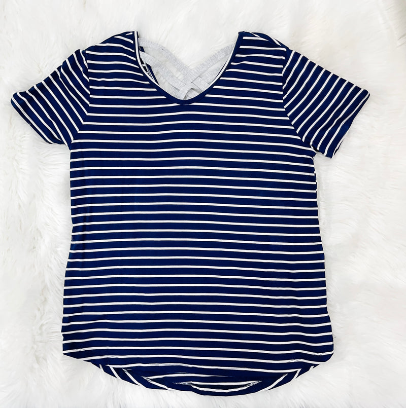Navy/Ivory Stripe Criss Cross Top