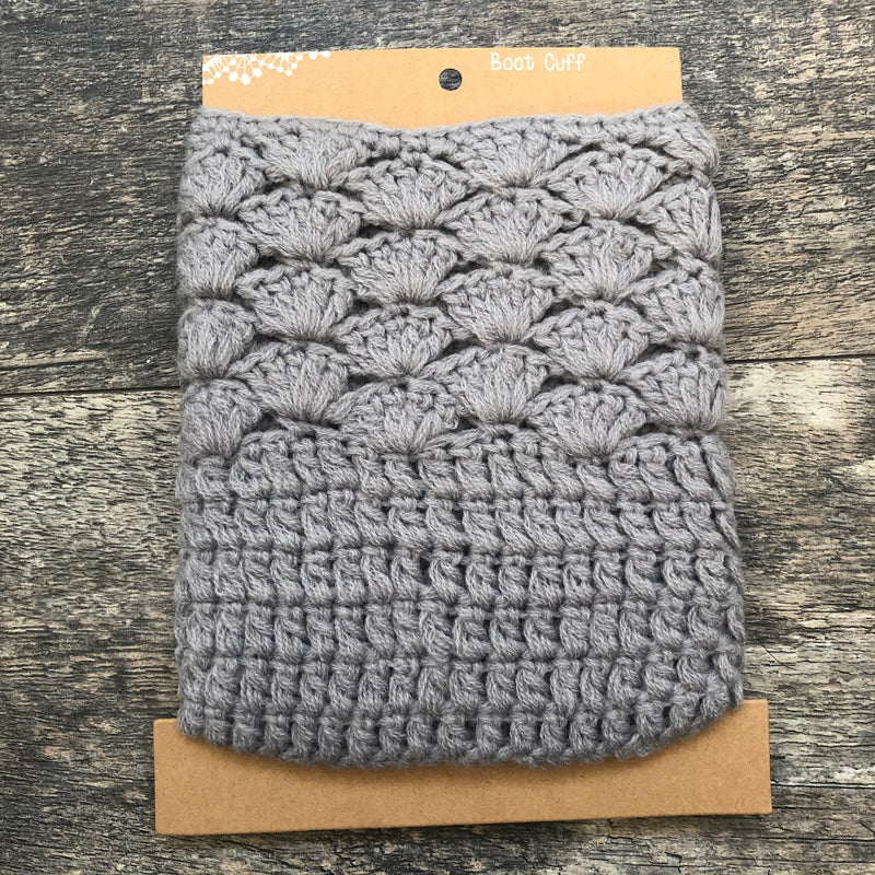 Grey Chunky Knit Boot Cuff