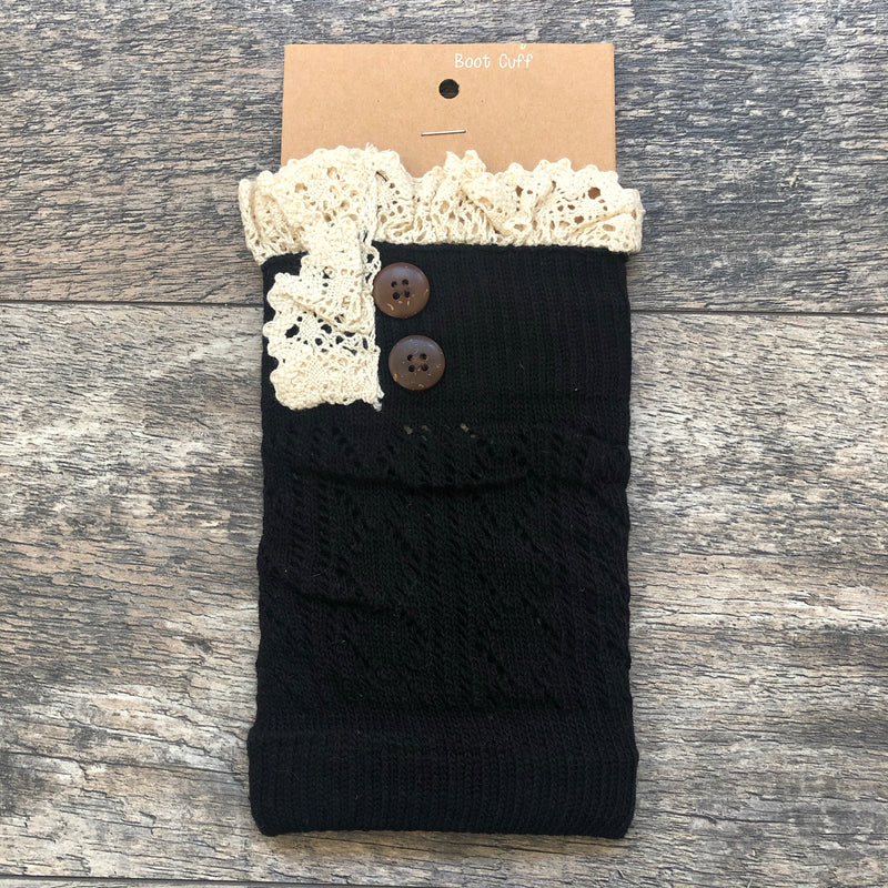 Black Crochet Lace w/ Button Detail Boot Cuff