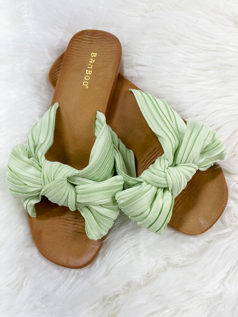 Kayla Mint Green Bow Sandals