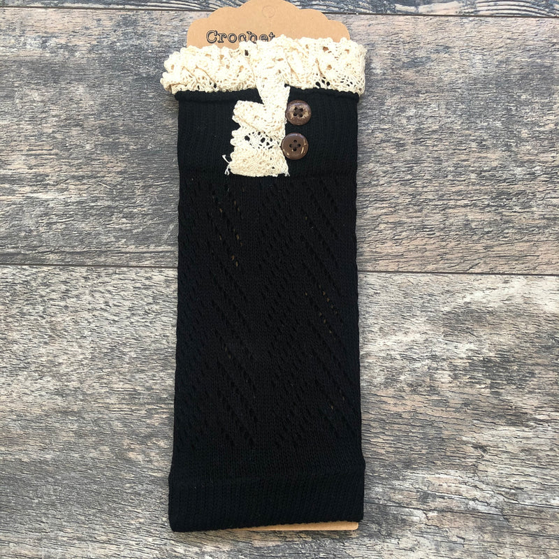 Black Crochet Lace Boot Cuff