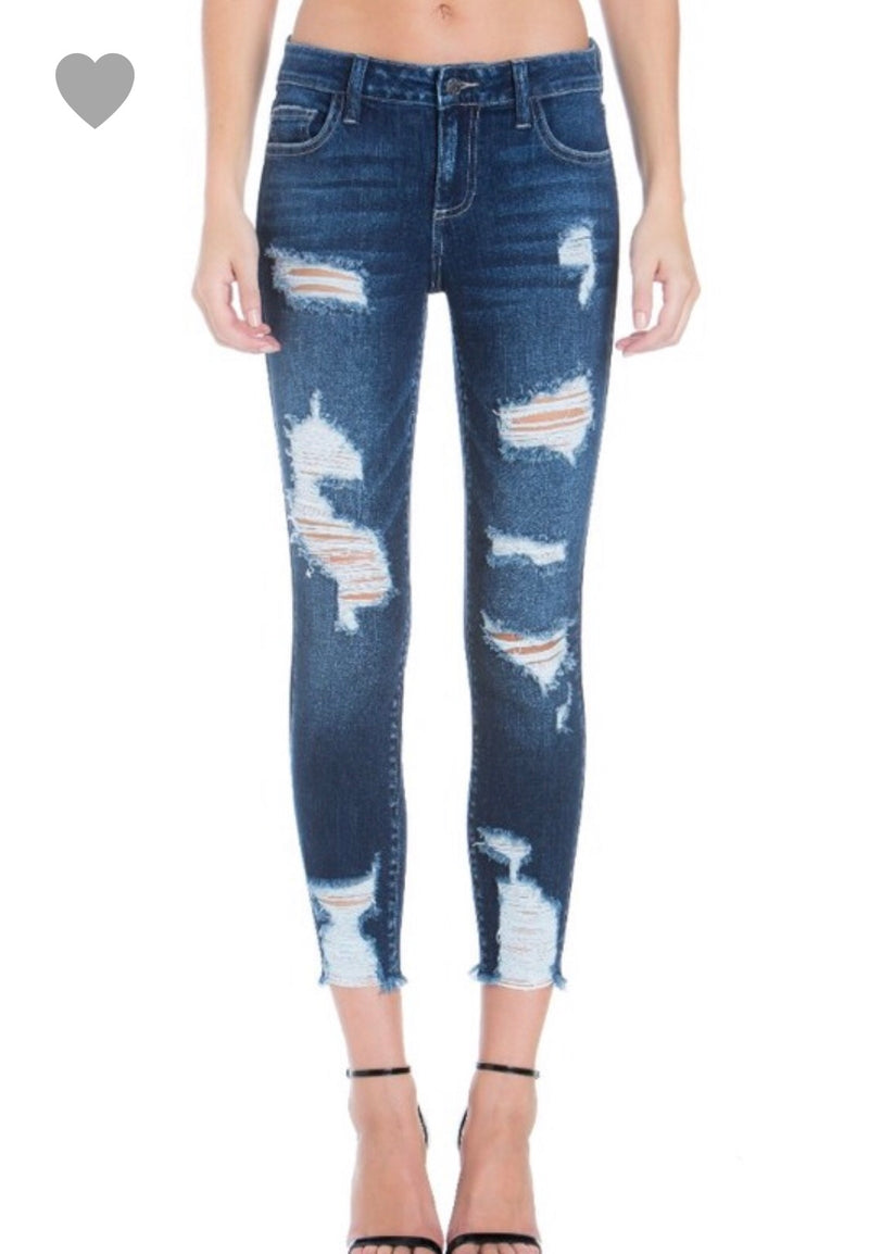 Distressed Cello Cropped Skinny Jeans