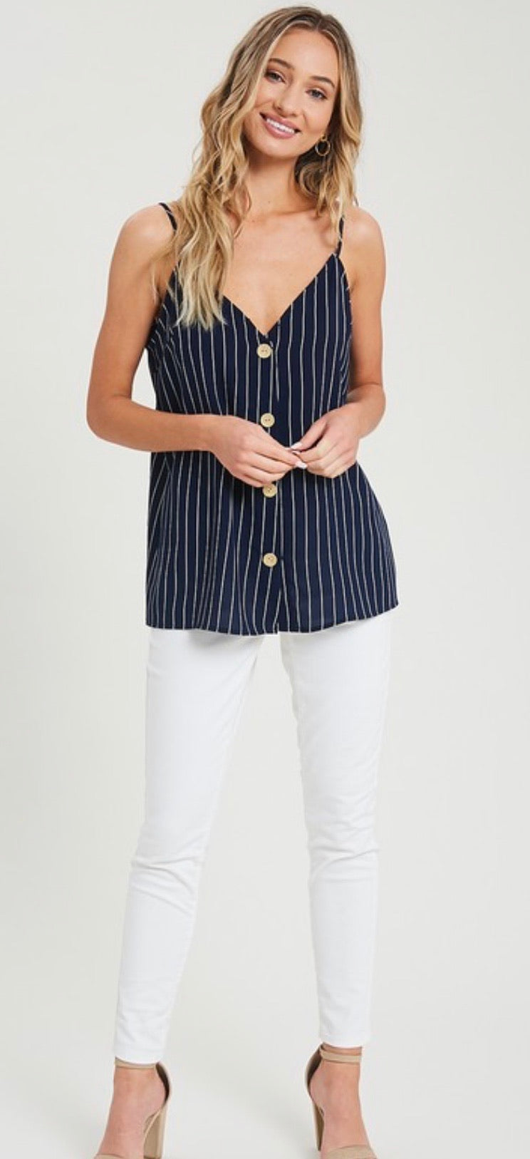 Holli - Navy Striped Tank Top