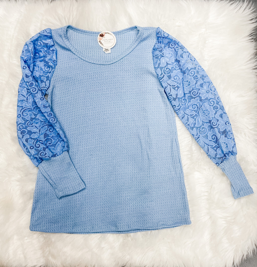 Blue Waffle Knit Lace Puff Sleeve Top