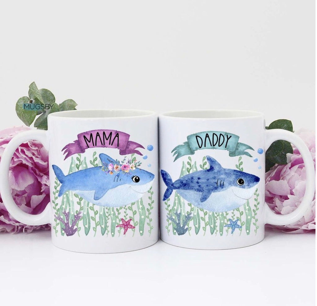 Mama Shark/Daddy Shark Coffee Mug Set