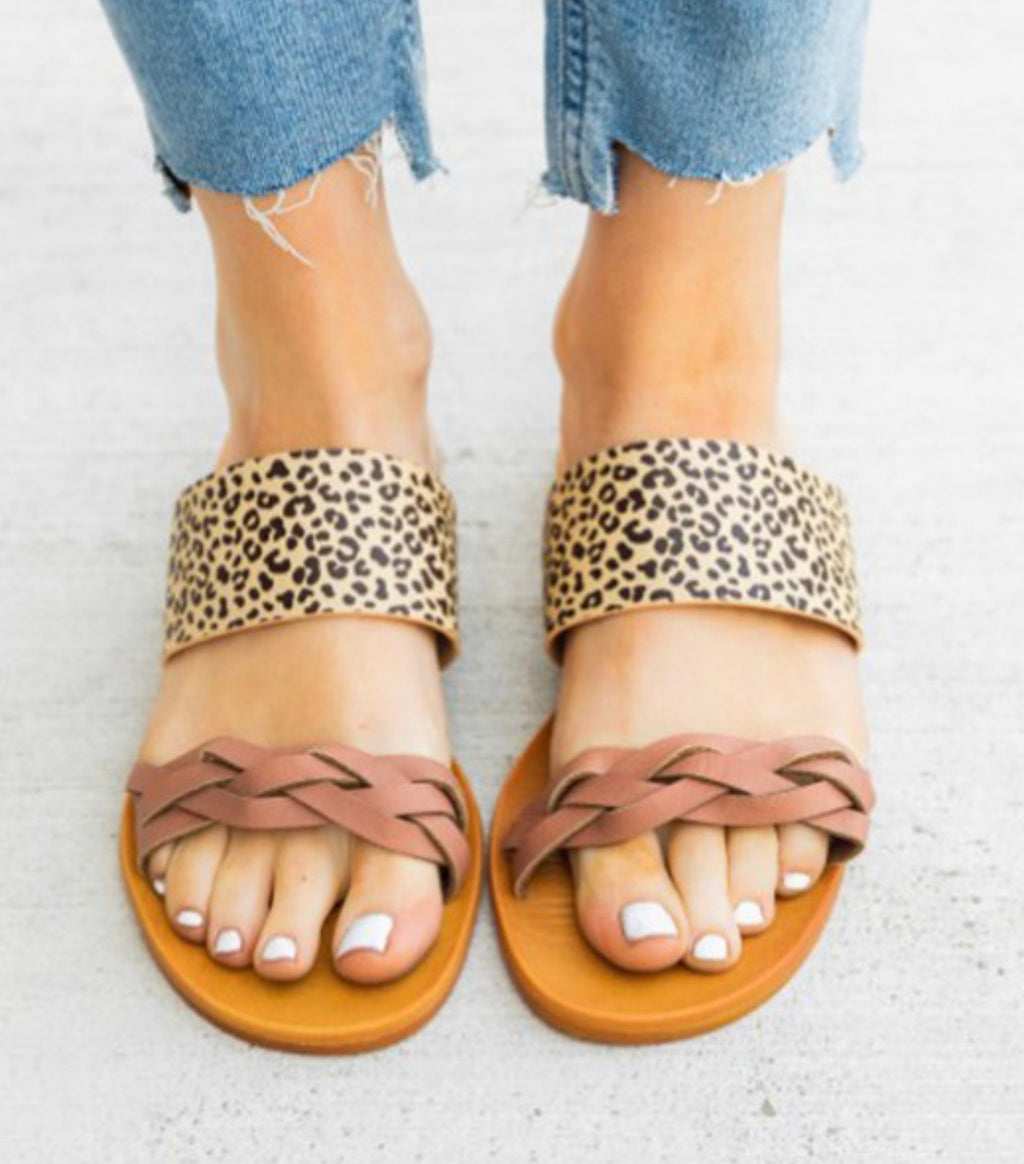 Trudy Leopard Mauve Braided Sandals