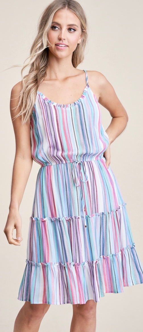 Cheryl - Multi Tiered Stripe Tank Dress