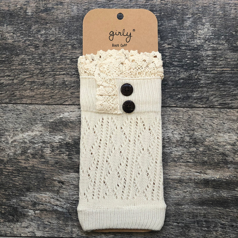 Ivory Crochet Lace w/ Button Detail Boot Cuff
