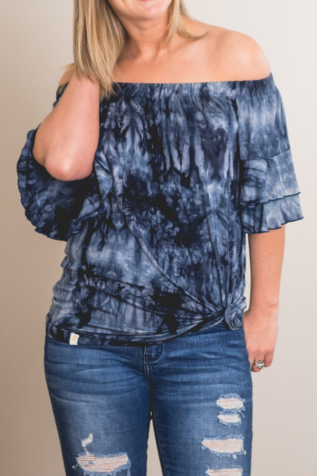 Simply Southern Blue Tie Dye Off The Shoulder Top