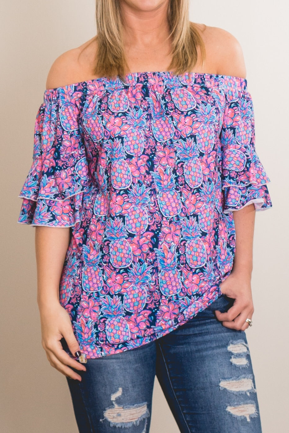 Simply Southern Pineapple Off The Shoulder Top