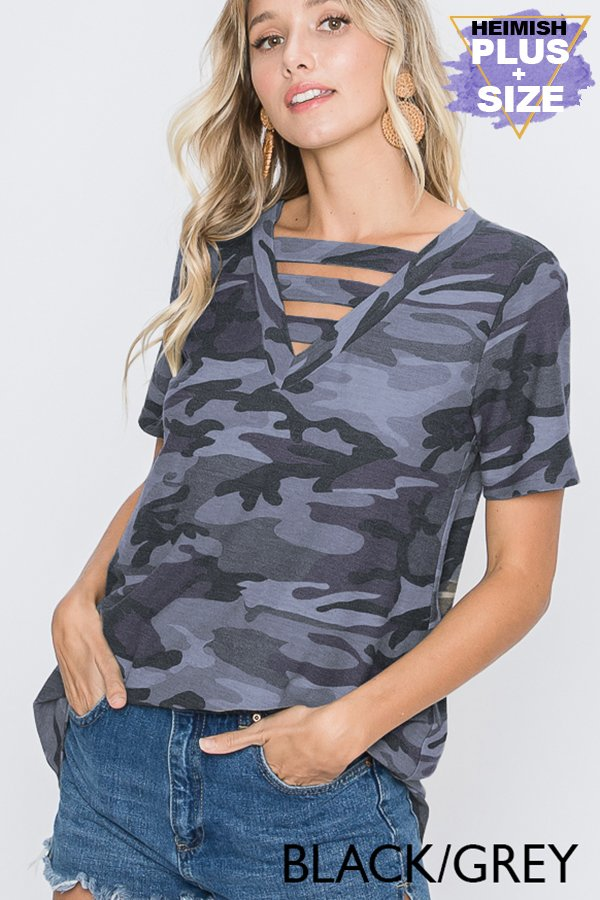Camo Strappy V-Neck Top