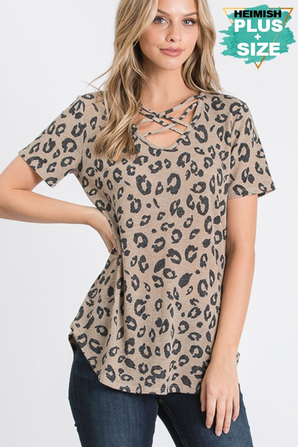 Leopard Criss Cross Top