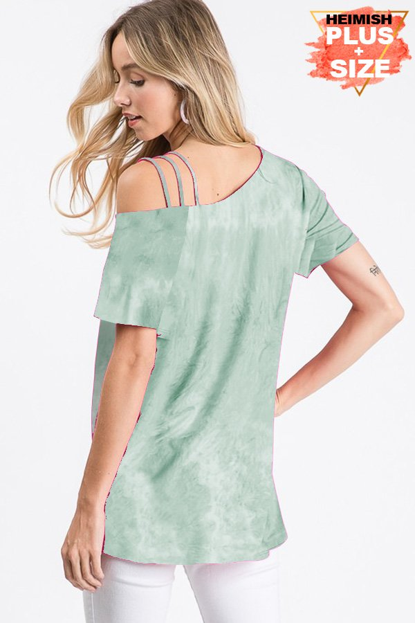 Sage Tie Dye Strappy Shoulder Top