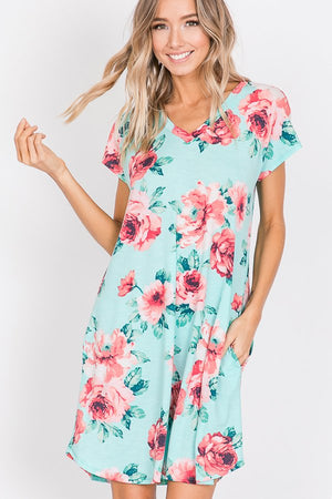 Mint Floral Swing Dress