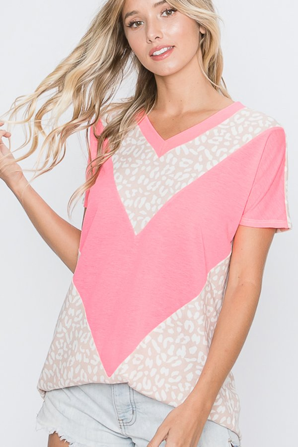 Neon Pink and Leopard Chevron Top