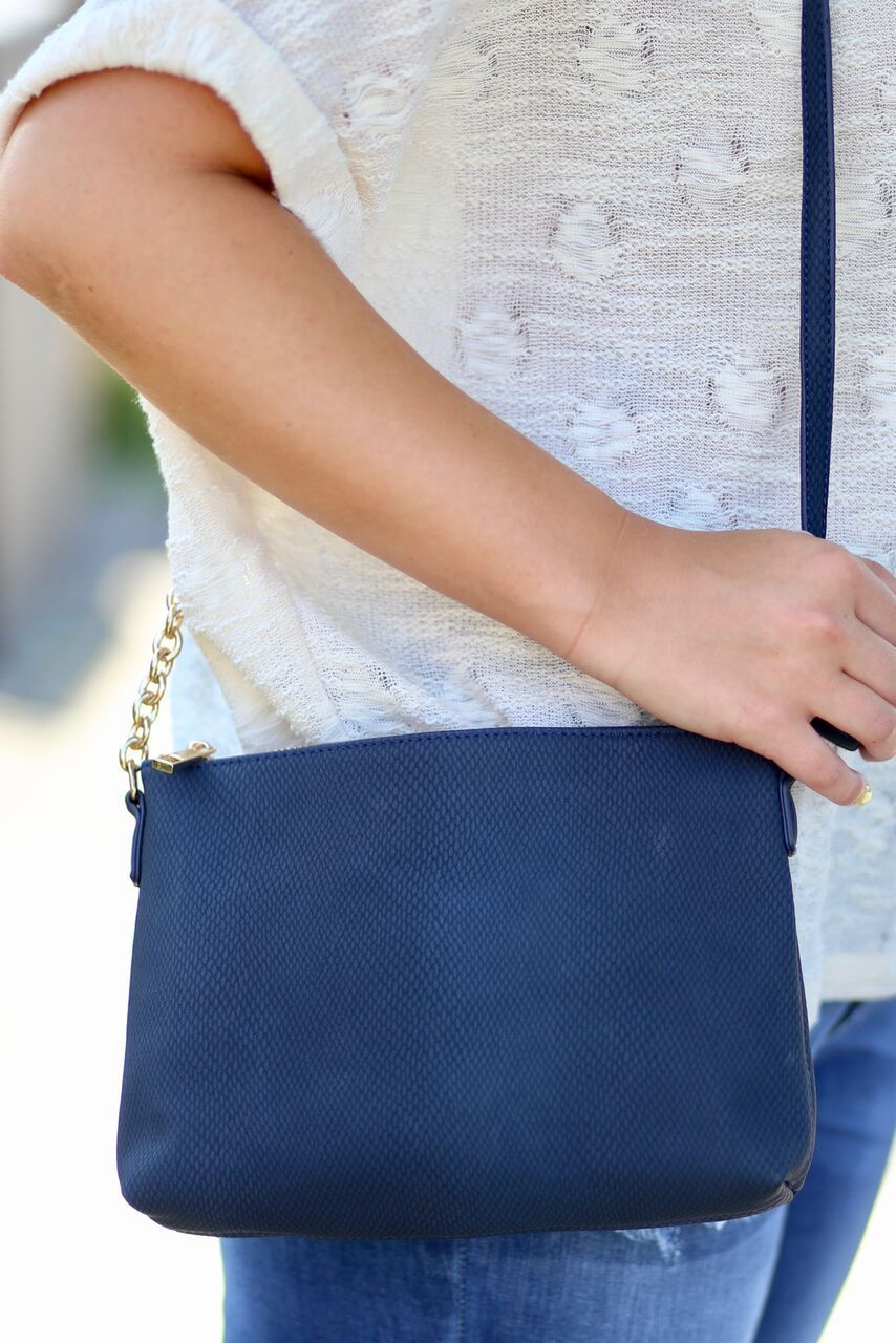 Loreli Crossbody with Snap Pocket-Textured Denim