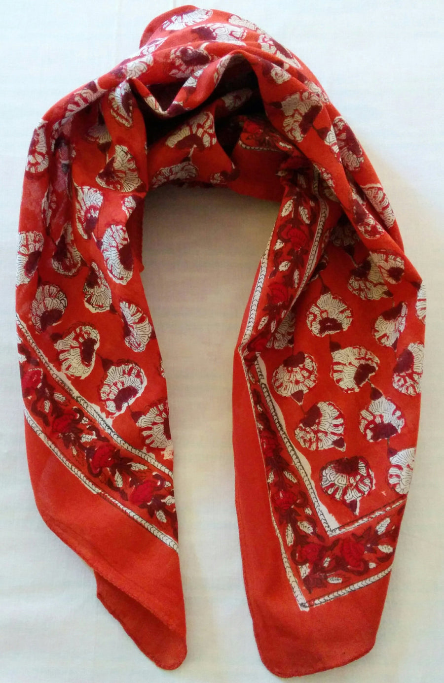 Hand block printed scarf in cotton fabric in rust/ dark orange colour