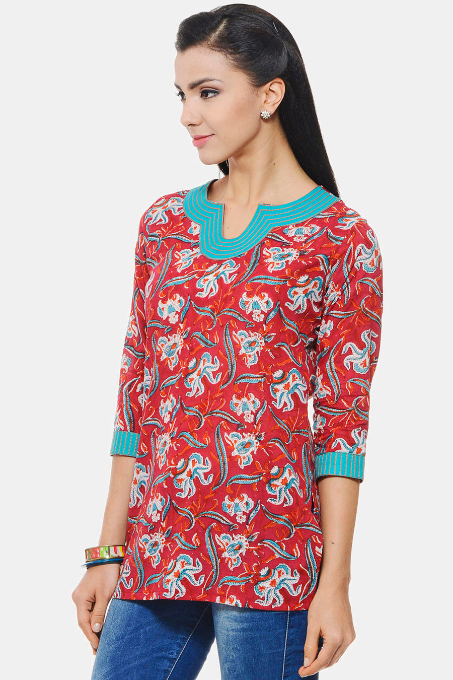 Hand Block Printed Indian Tunic in red floral design with Embroidery on neck and sleeves