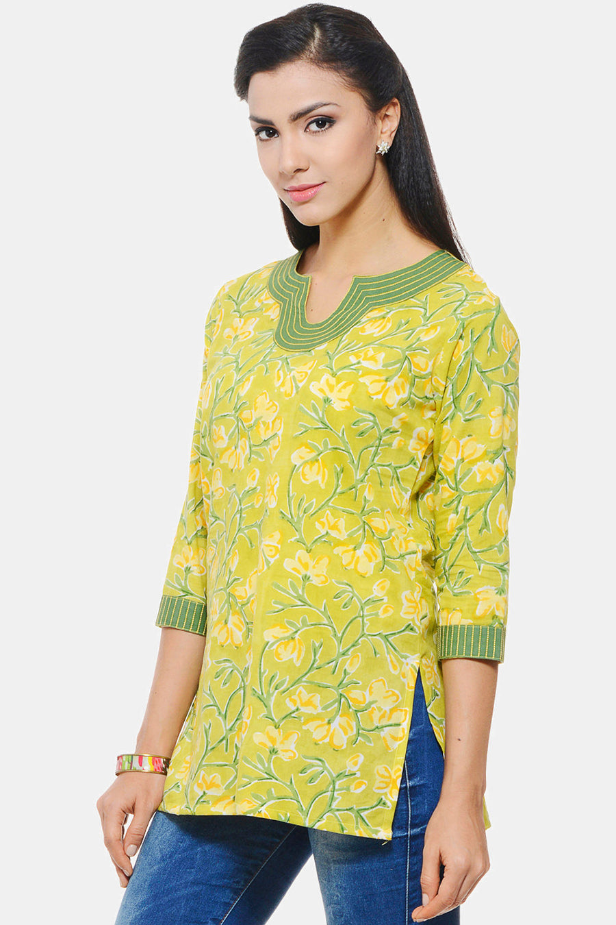 Hand Block Printed Indian Tunic in pastel green floral design with Embroidery on neck and sleeves