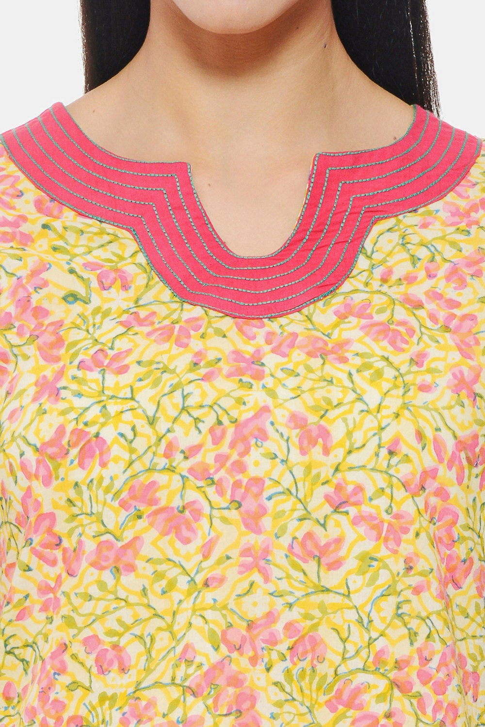 Hand Block Printed Indian Tunic in yellow floral design with Embroidery on neck and sleeves