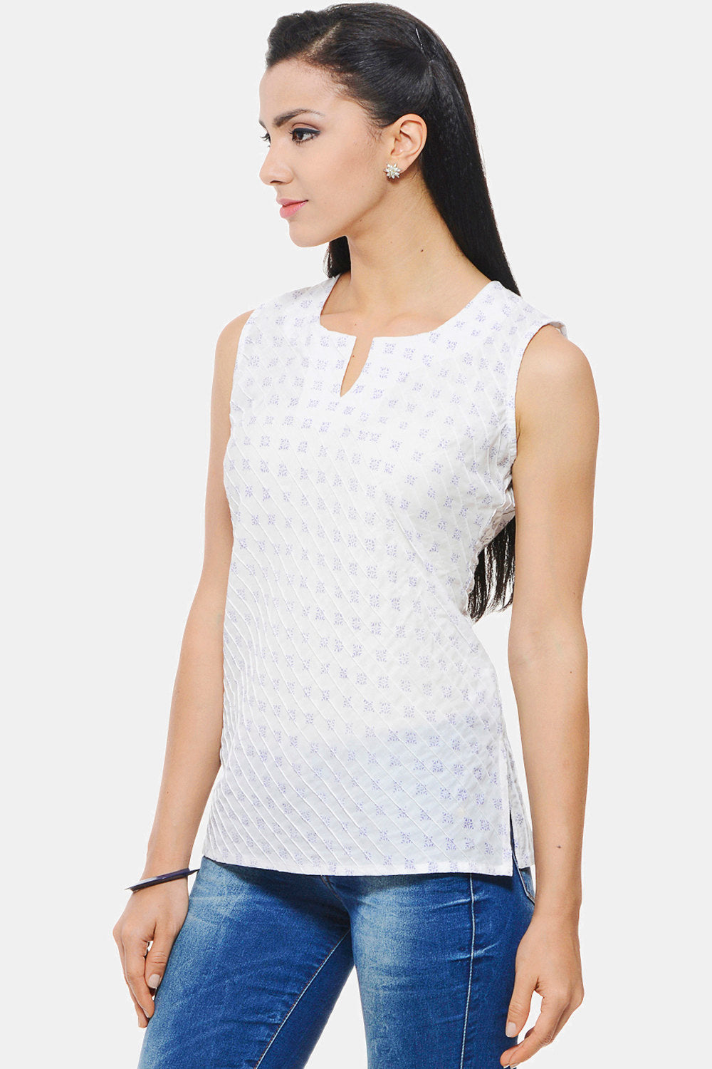 Hand block printed Casual Sleeveless Top / Blouse