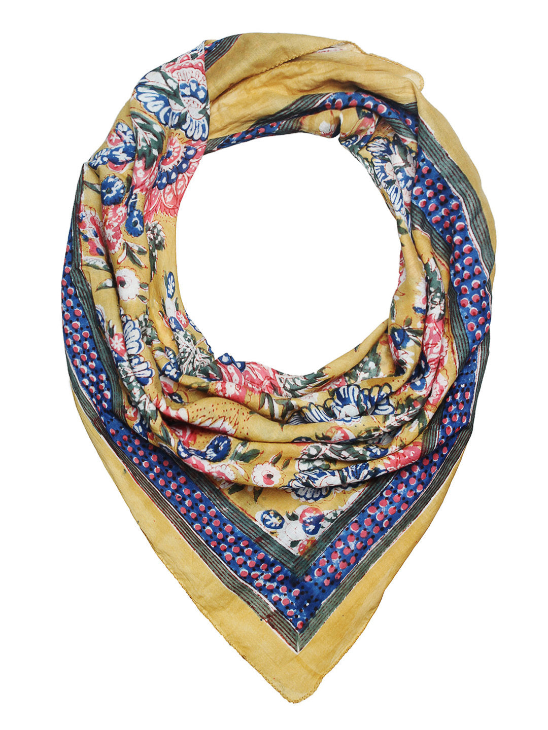 Soft cotton hand block printed scarf in pastel yellow with multi colour flowers
